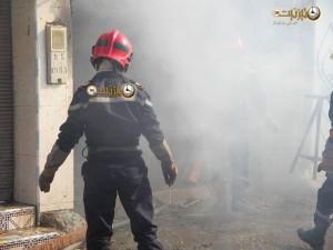 صور لحريق مهول بمحل للنجارة قرب باب أكلو بتيزنيت