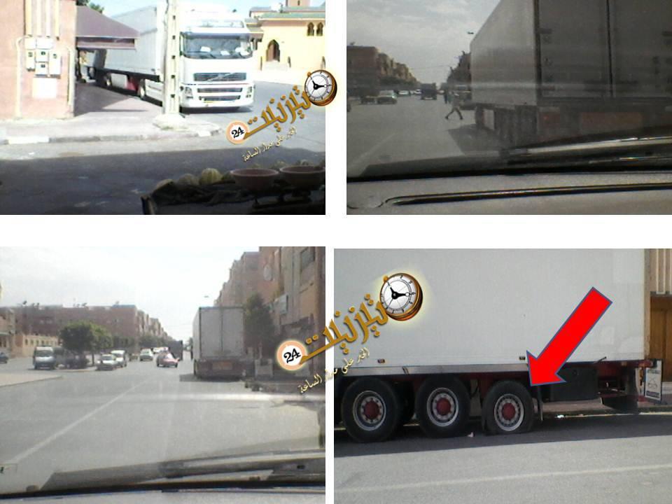خوف و هلع بعد انفجار عجلة إحدى الشاحنات بمدينة تيزنيت