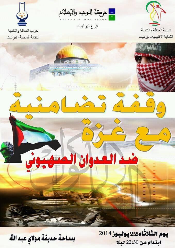 وقفة تضامنية مع غزة بمدينة تيزنيت يوم الثلاثاء 22-7-2014