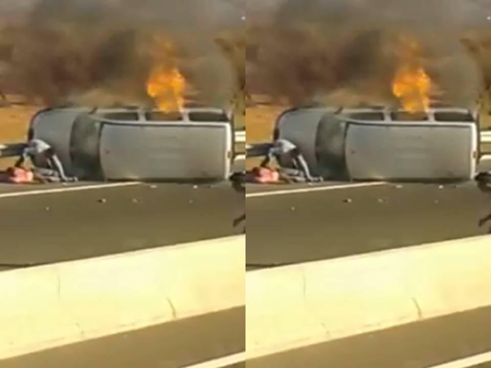 الطريق السيارة اكادير مراكش: مواطنون ينقذون سائق سيارة من موت محقق اثر انقلاب واحتراق سيارته