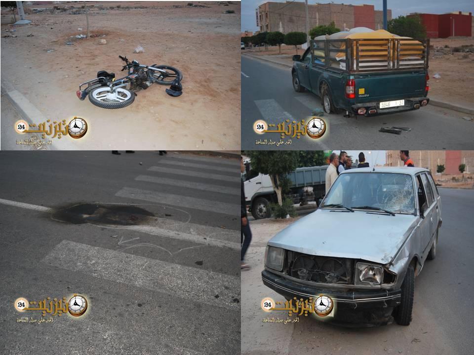 حادثة خطيرة عند مدخل تيزنيت من جهة سيدي إفني والسكان يطالبون بوضع الأكتاد الإسمنتية
