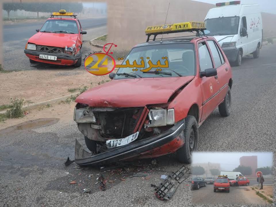 حادثة سير بين سيارتي أجرة بتيزنيت تسفر عن إصابة فتاة بجروح
