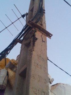 عمود كهربائي يهدد المارة بسيدي إفني والسلطات الوصية في دار غفلون