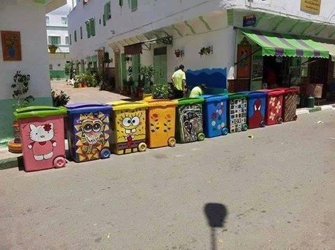 حاويات الأزبال بمدينة مغربية