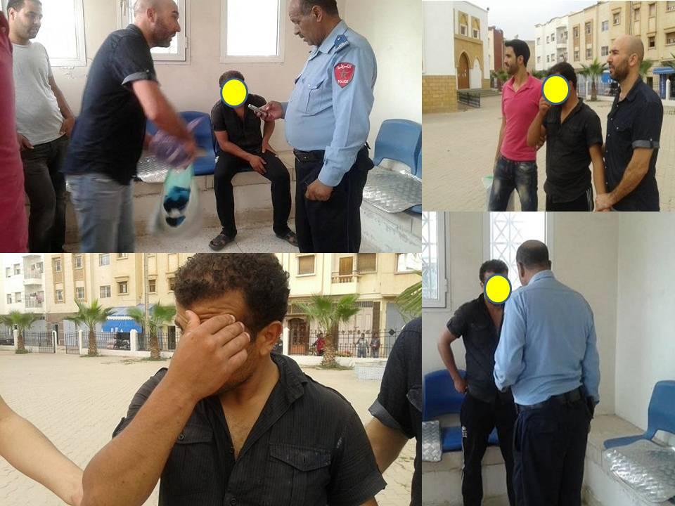 بالصور: لحظة القبض على سارق أحذية المصلين في أكادير