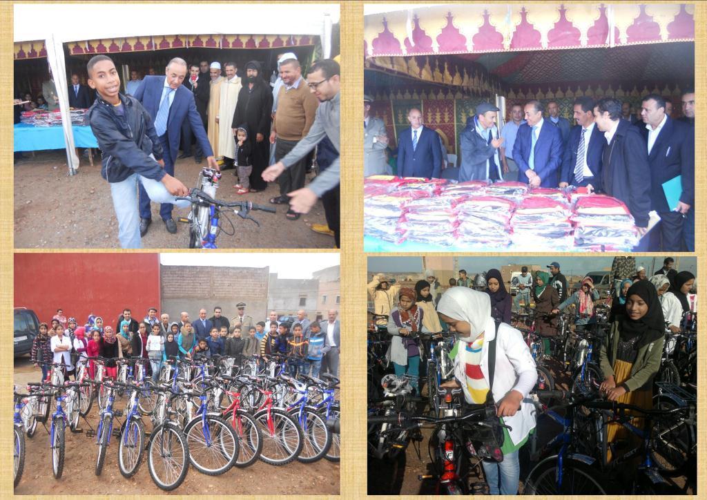 بلاغ اخباري حول عملية توزيع الدراجات الهوائية على تلميذات وتلاميذ الاحياء المدمجة في المدار الحضري