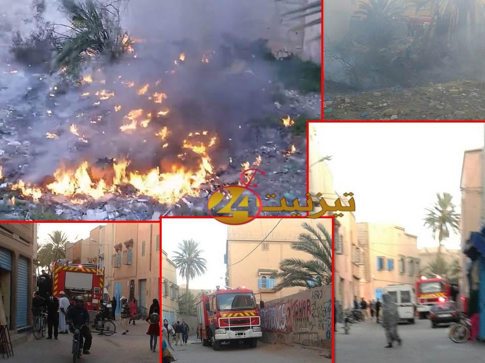 حريق قرب مدرسة 18 نونبر بتيزنيت