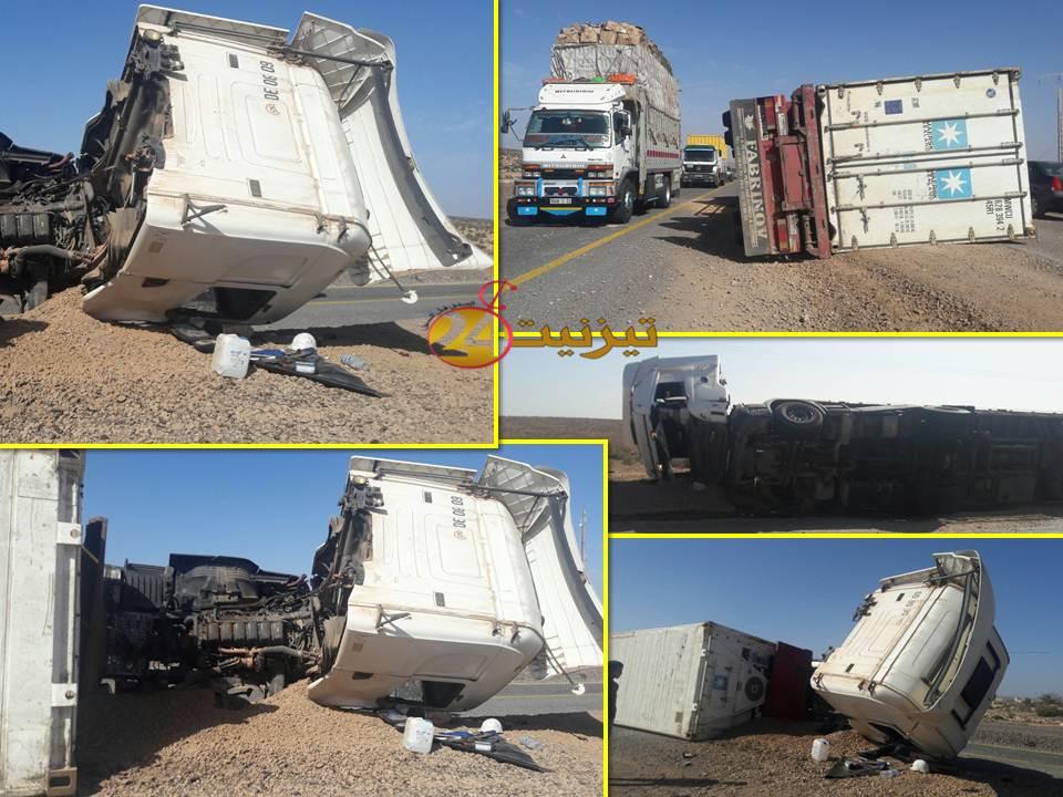حادثة سير بالطريق الوطنية رقم 1  عند دوار سيدي علي بجماعة المعدر الكبير