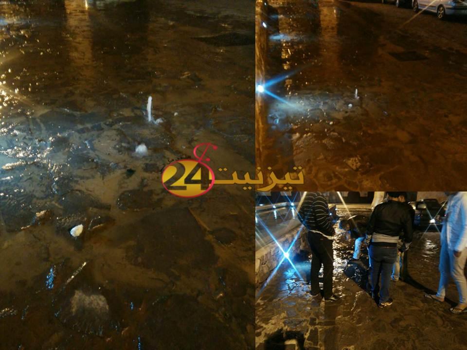 هدر الماء الصالح للشرب بسبب تسرب في الشارع العام