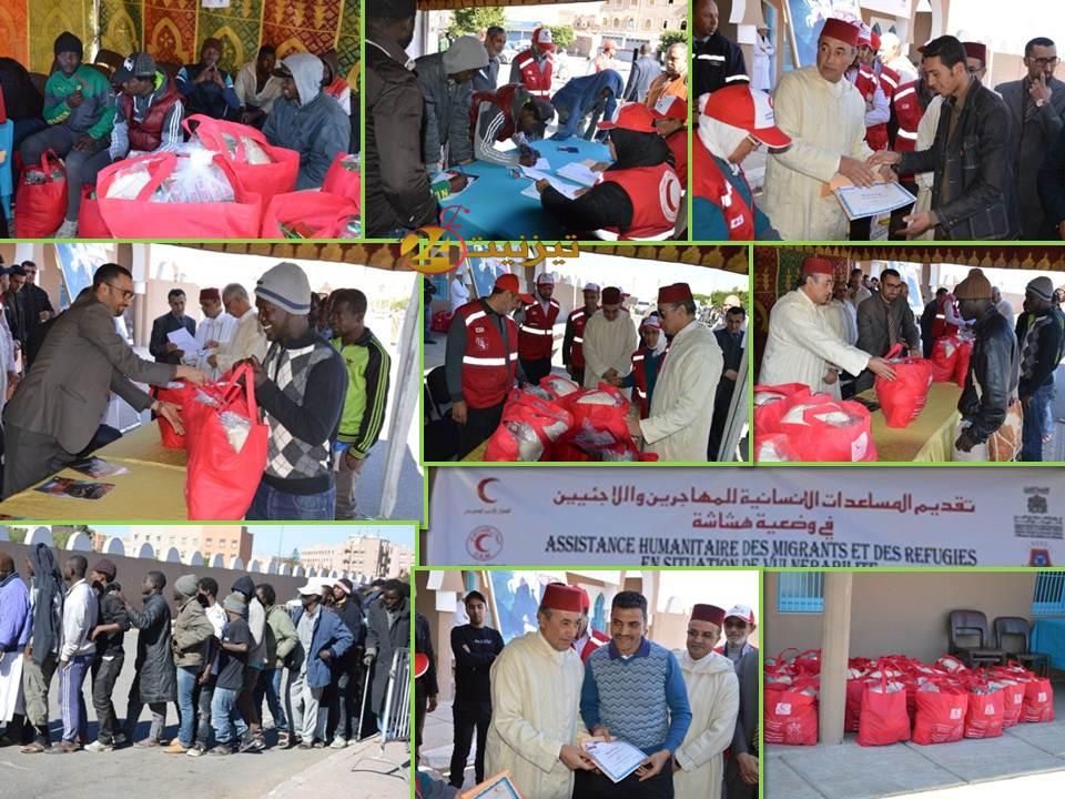 بالصور : توزيع مساعدات إنسانية على المهاجرين الأفارقة بالهلال الأحمر المغربي بتيزنيت