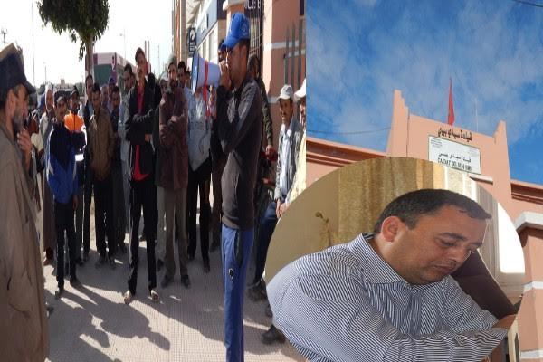 اشتوكة : مواطنون يتظاهرون احتجاجا على قائد قيادة سيدي بيبي