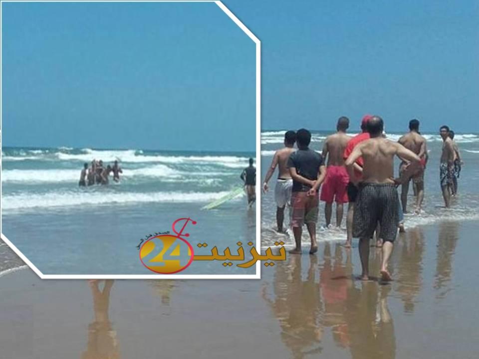 انقاذ شاب من الغرق بشاطئ امي نتركا بجماعة ميراللفت