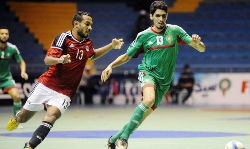 المنتخب الوطني لكرة القدم داخل القاعة يفوز على المنتخب المصري بقاعة الانبعاث بأكادير