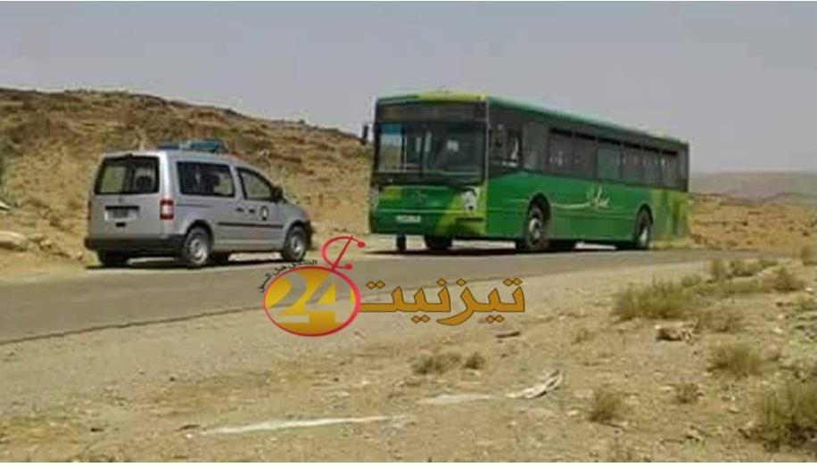 شبان يهاجمون حافلة لوكس بطريق تافراوت اداوسملال