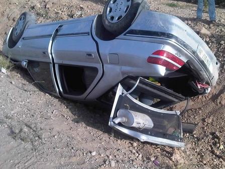 جرح شخص في حادث  انقلاب سيارة بمير اللفت